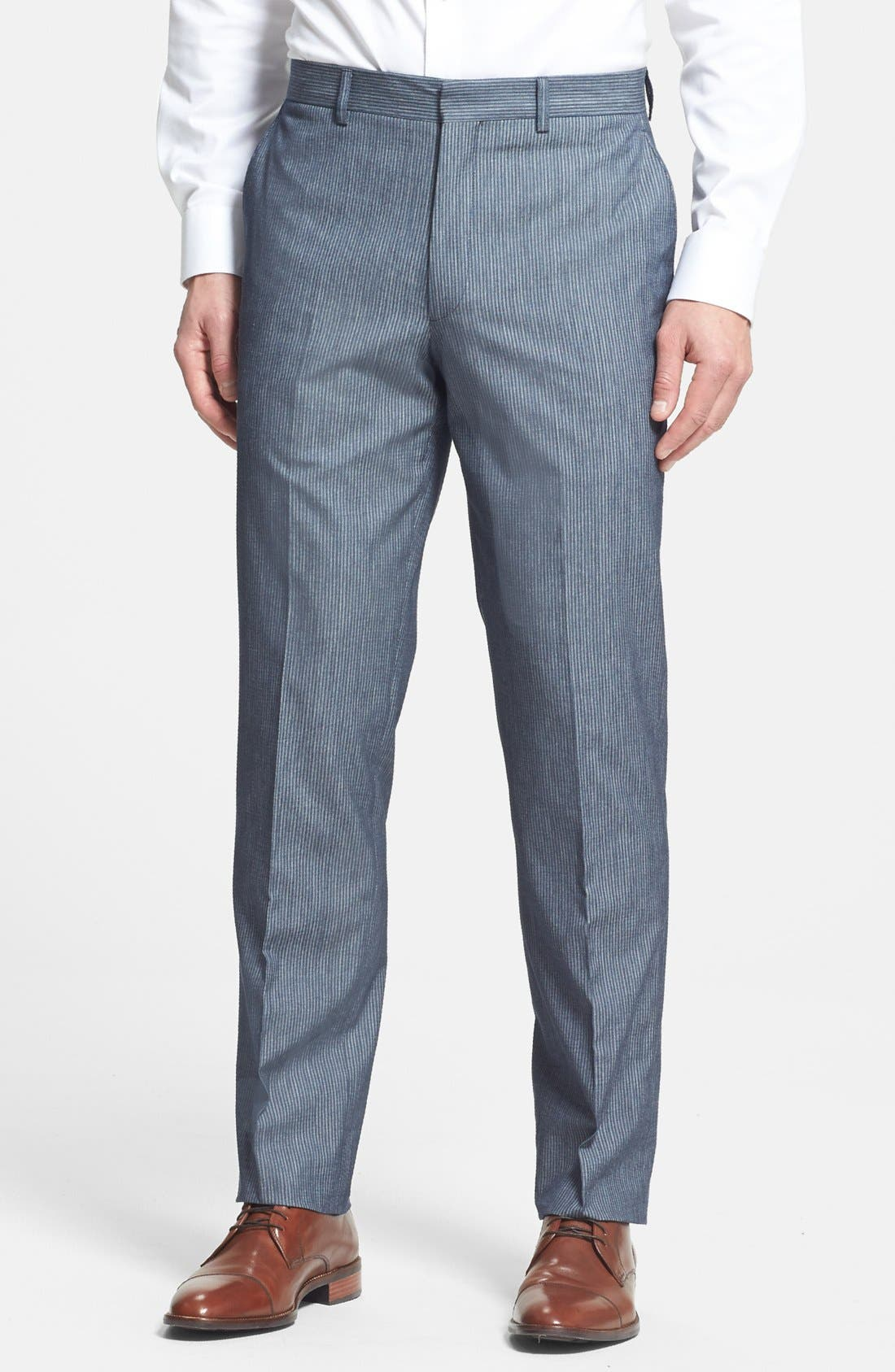 Alternate Image 1 Selected - Linea Naturale Trim Fit Flat Front Cotton Trousers (Nordstrom Exclusive)