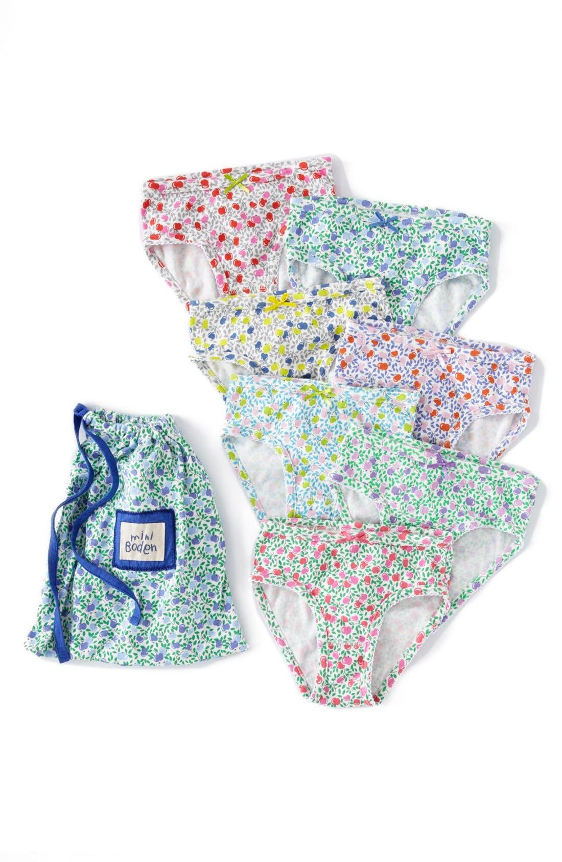 Main Image - Mini Boden Brief Underwear (7-Pack) (Little Girls & Big Girls)
