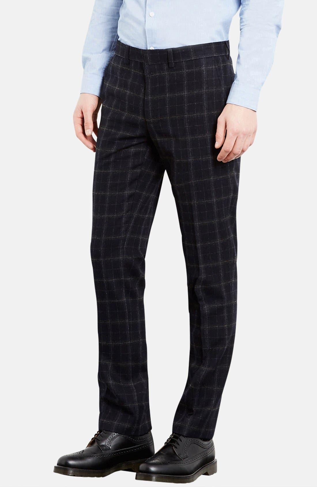 Main Image - Topman Skinny Fit Check Wool Blend Trousers