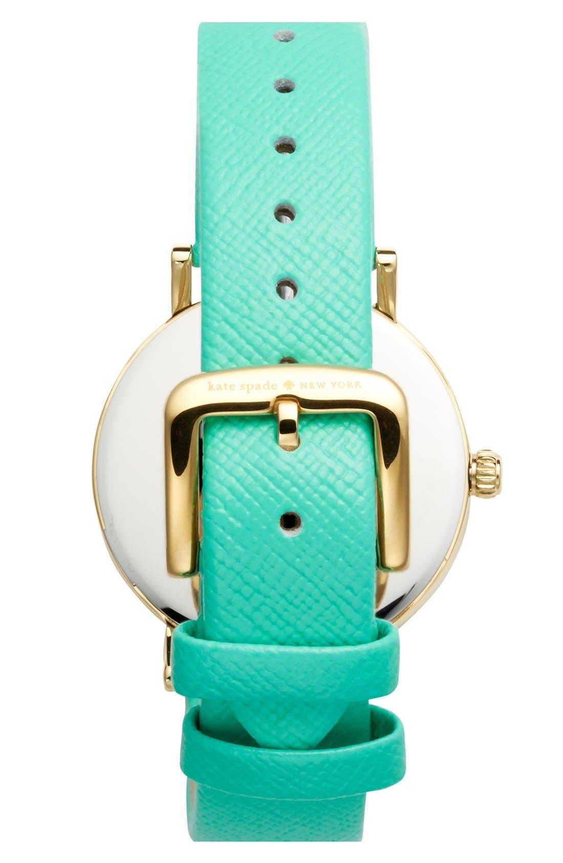 Alternate Image 2  - kate spade new york 'metro' round leather strap watch, 34mm