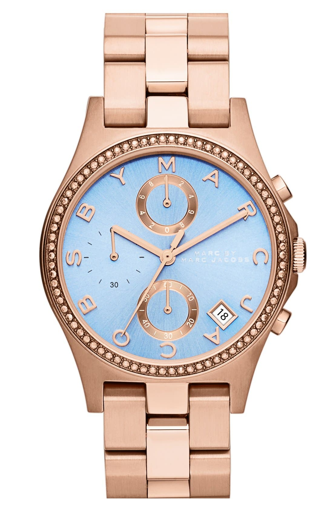 Main Image - MARC BY MARC JACOBS 'Henry Glitz' Chronograph Bracelet Watch, 37mm