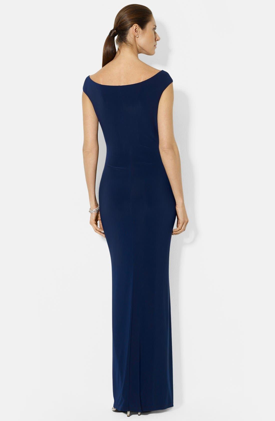 Alternate Image 2  - Lauren Ralph Lauren Ruffle Matte Jersey Gown