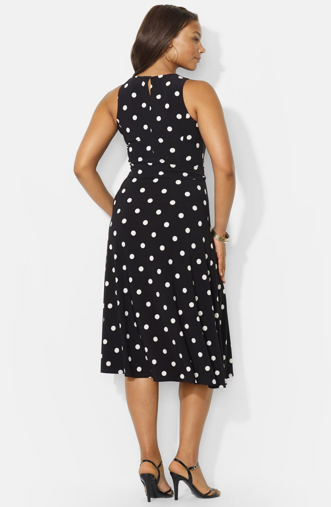 Alternate Image 2  - Lauren Ralph Lauren Polka Dot Jersey Fit & Flare Dress (Plus Size)