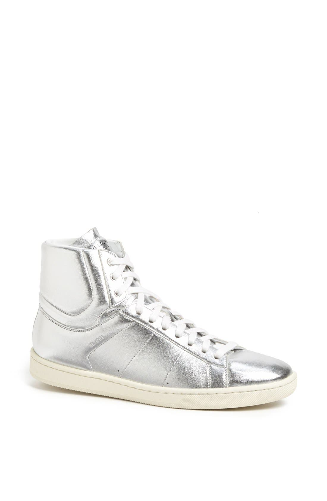 Alternate Image 1 Selected - Saint Laurent 'Classic Court' Lambskin Leather High Top Sneaker