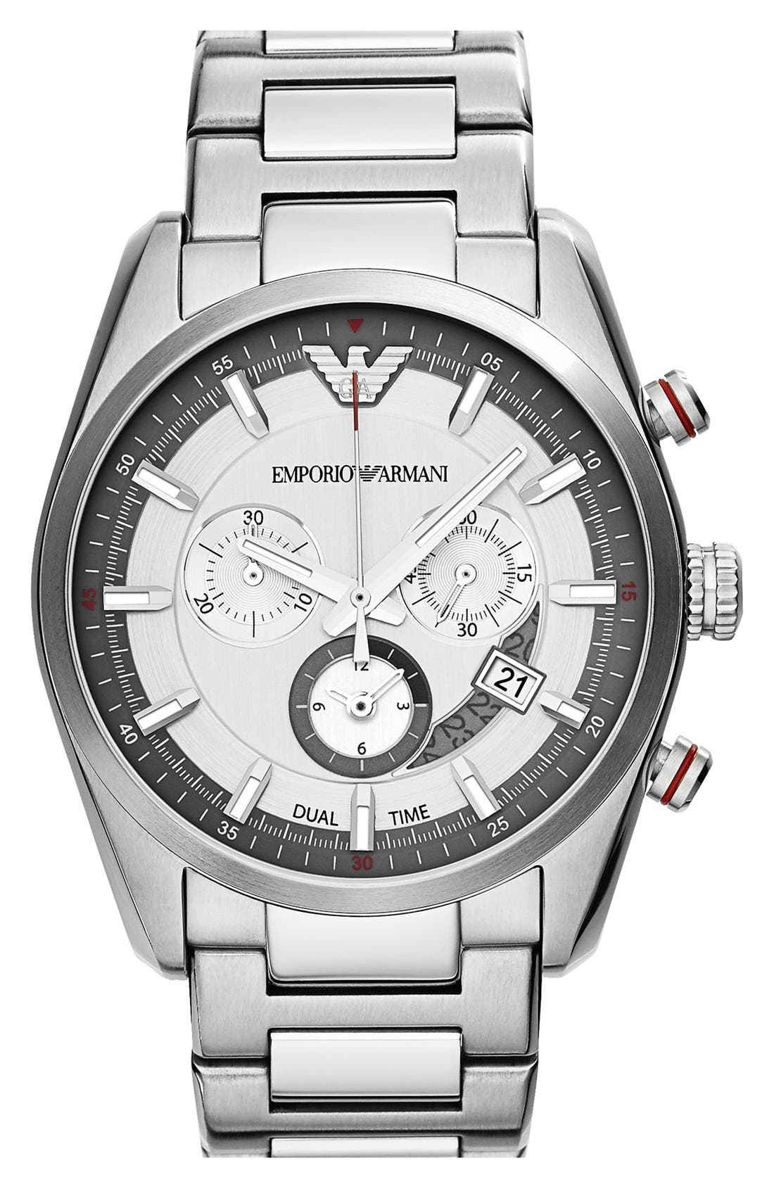Alternate Image 1 Selected - Emporio Armani Chronograph Bracelet Watch, 43mm