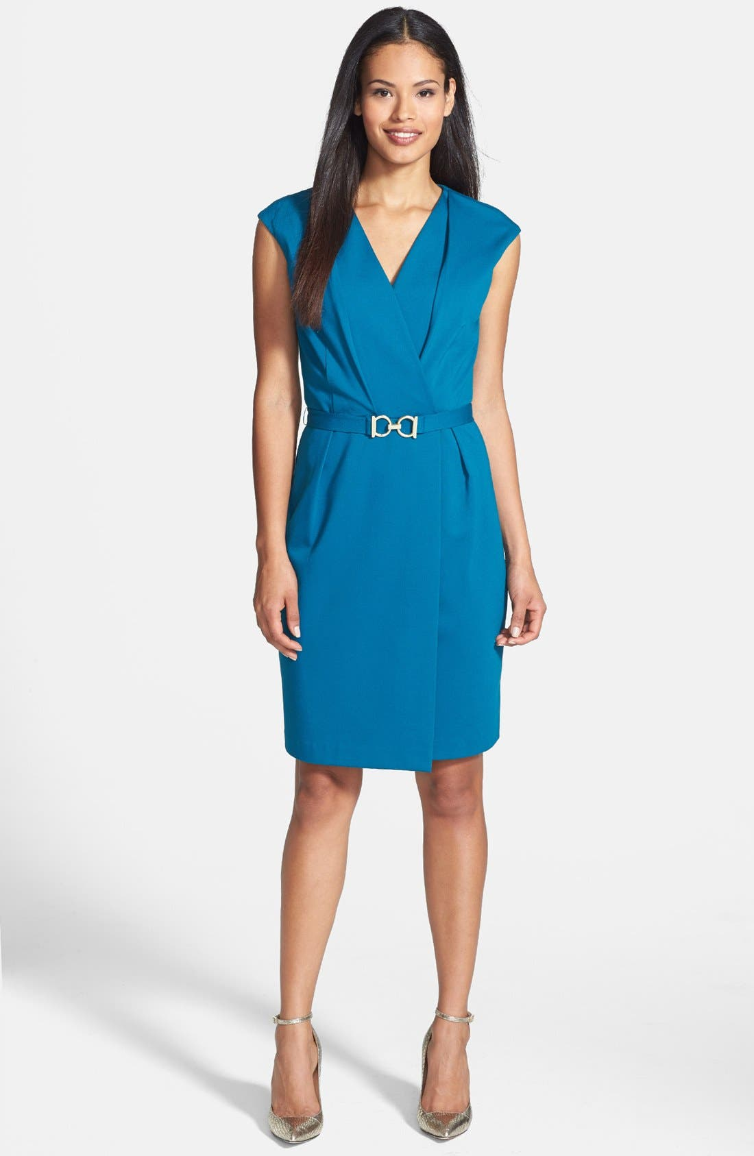Alternate Image 1 Selected - Adrianna Papell Cap Sleeve Dress with Buckle Belt