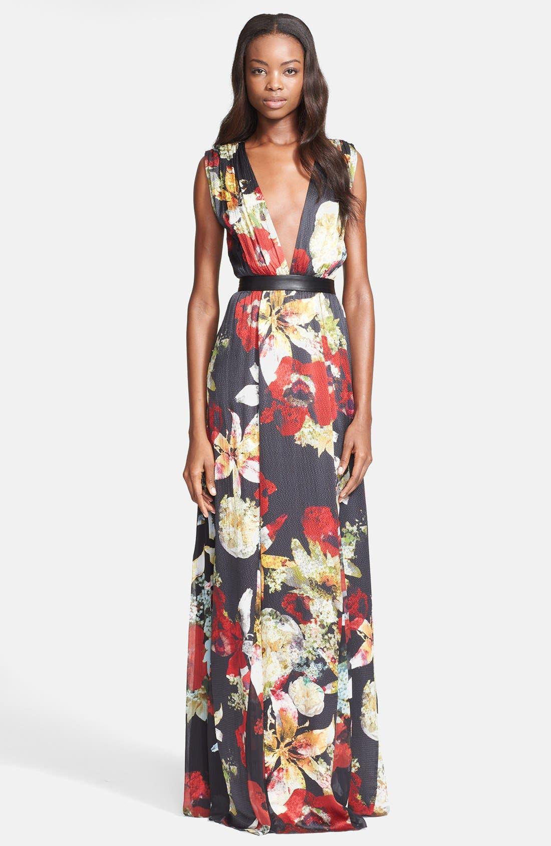 Alternate Image 1 Selected - Alice + Olivia 'Triss' Print Silk Maxi Dress