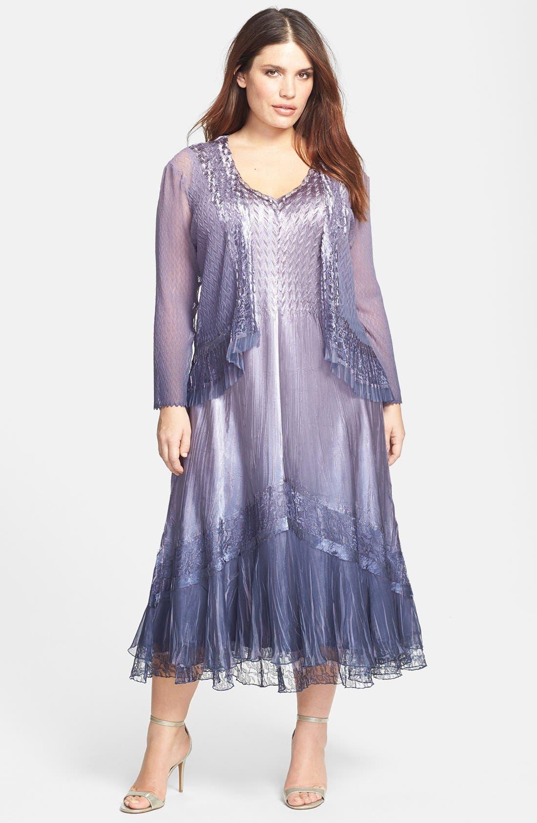Main Image - Komarov Embellished Mixed Media Dress & Jacket (Plus Size)