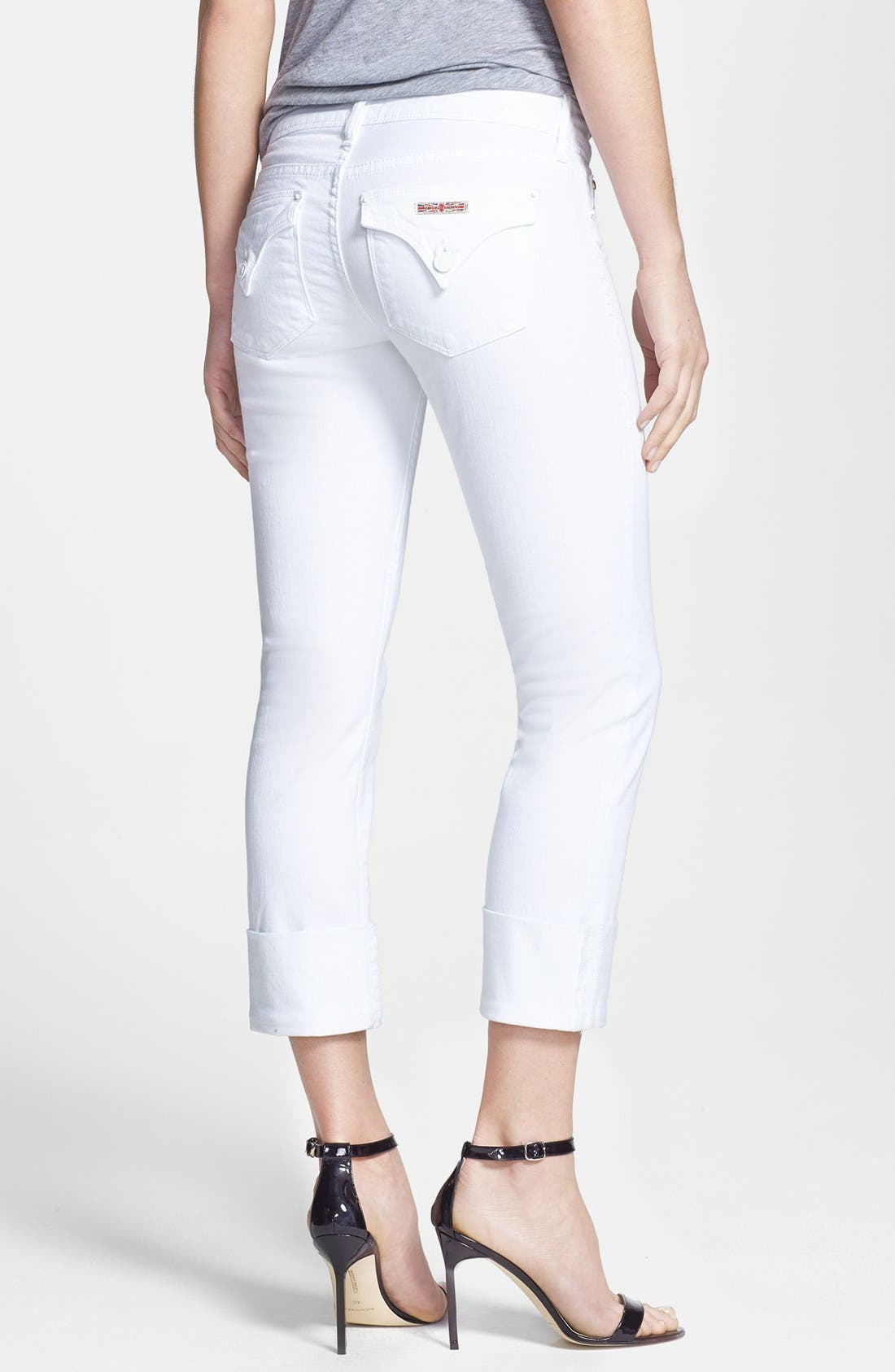 Alternate Image 2  - Hudson Jeans 'Ginny Crop' Stretch Skinny Jeans (White)