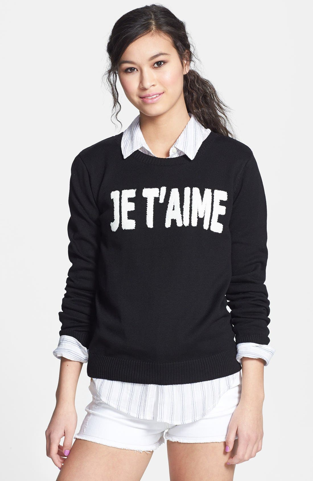 Alternate Image 1 Selected - Love By Design Textured French Knit Sweater (Juniors)