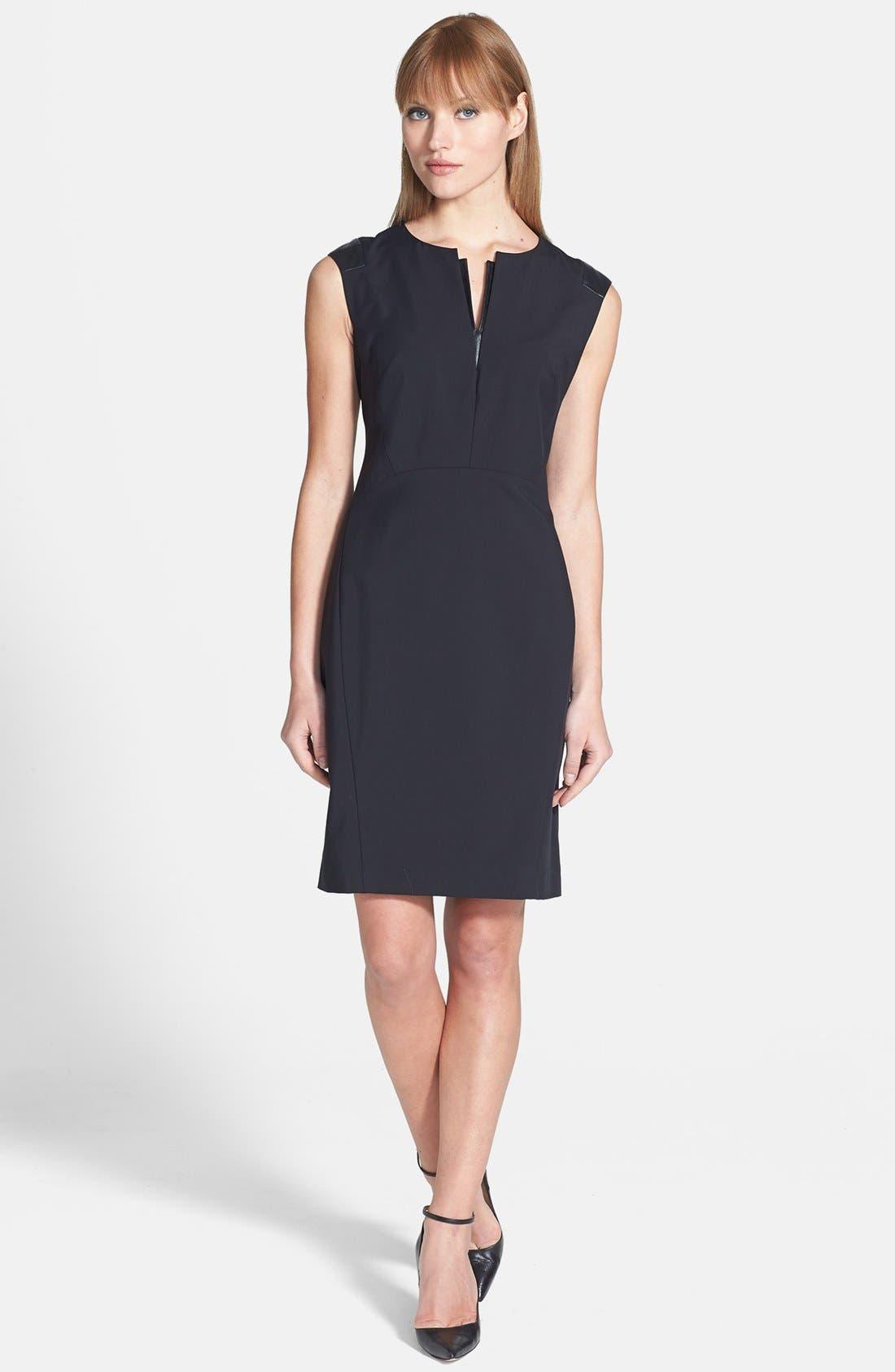 Main Image - Lafayette 148 New York 'Zelina' Stretch Dress with Leather Trim (Regular & Petite)