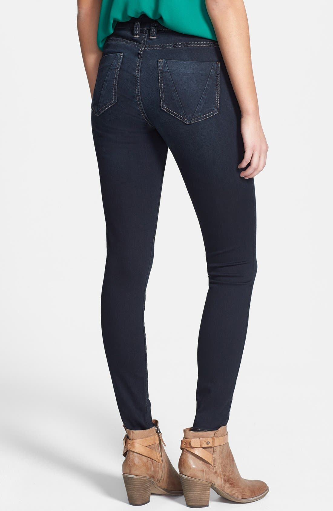 Alternate Image 2  - STS Blue High Waist Skinny Jeans (Dark) (Juniors)
