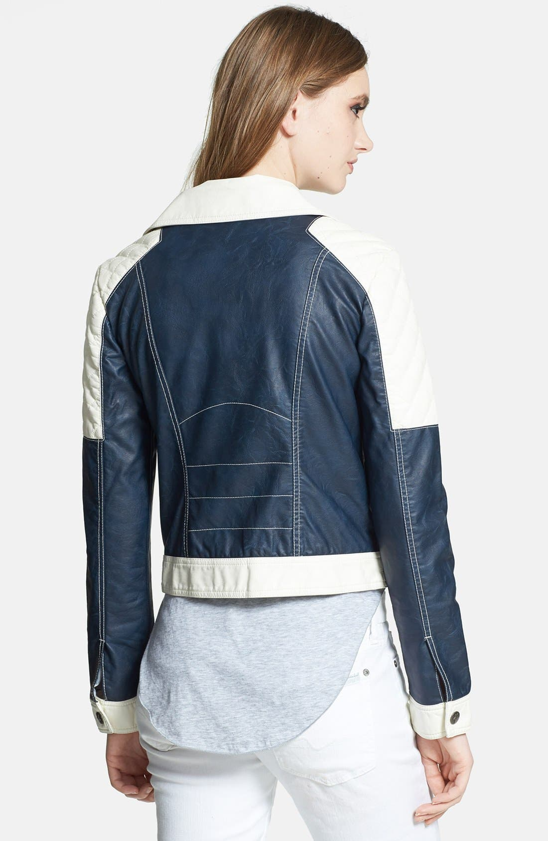 Alternate Image 2  - Circus by Sam Edelman Colorblock Faux Leather Moto Jacket