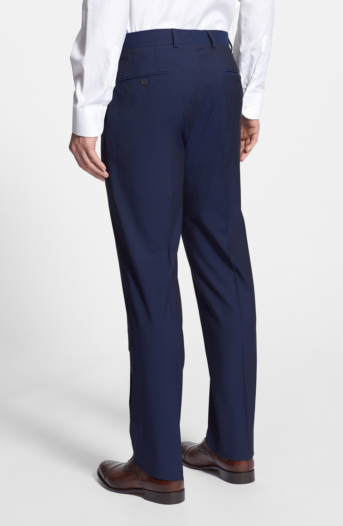 Alternate Image 2  - Linea Natural Trim Fit Flat Front Cotton Trousers (Nordstrom Exclusive)