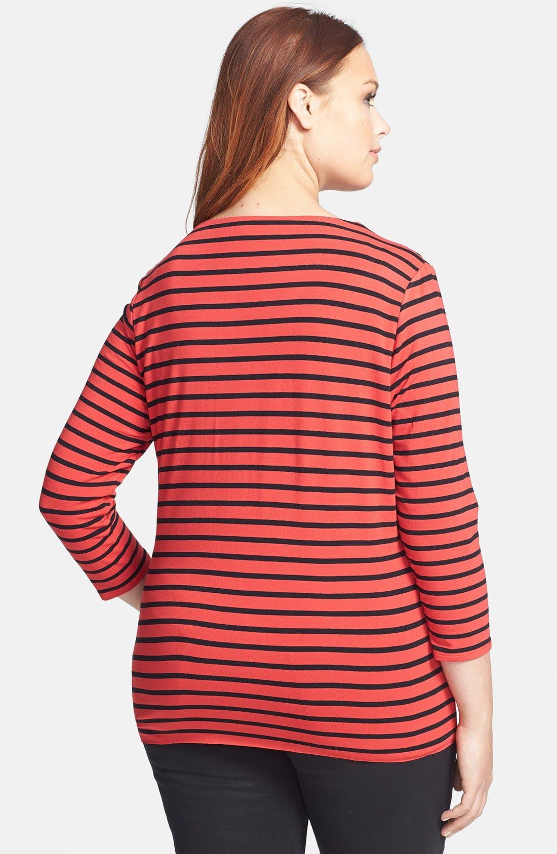 Alternate Image 2  - Vince Camuto 'Retro Stripes' Asymmetrical Tunic (Plus Size)