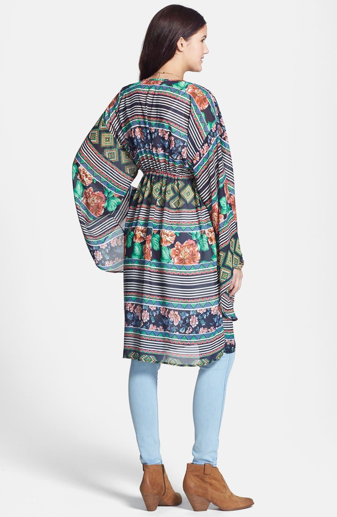Alternate Image 2  - Liberty Love Print Kimono Cardigan (Juniors)