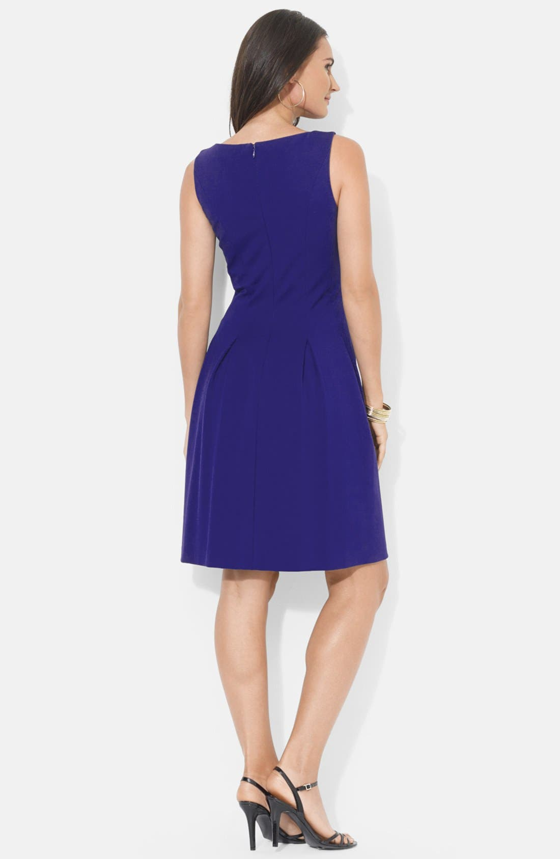 Alternate Image 2  - Lauren Ralph Lauren Pleat Jersey Fit & Flare Dress