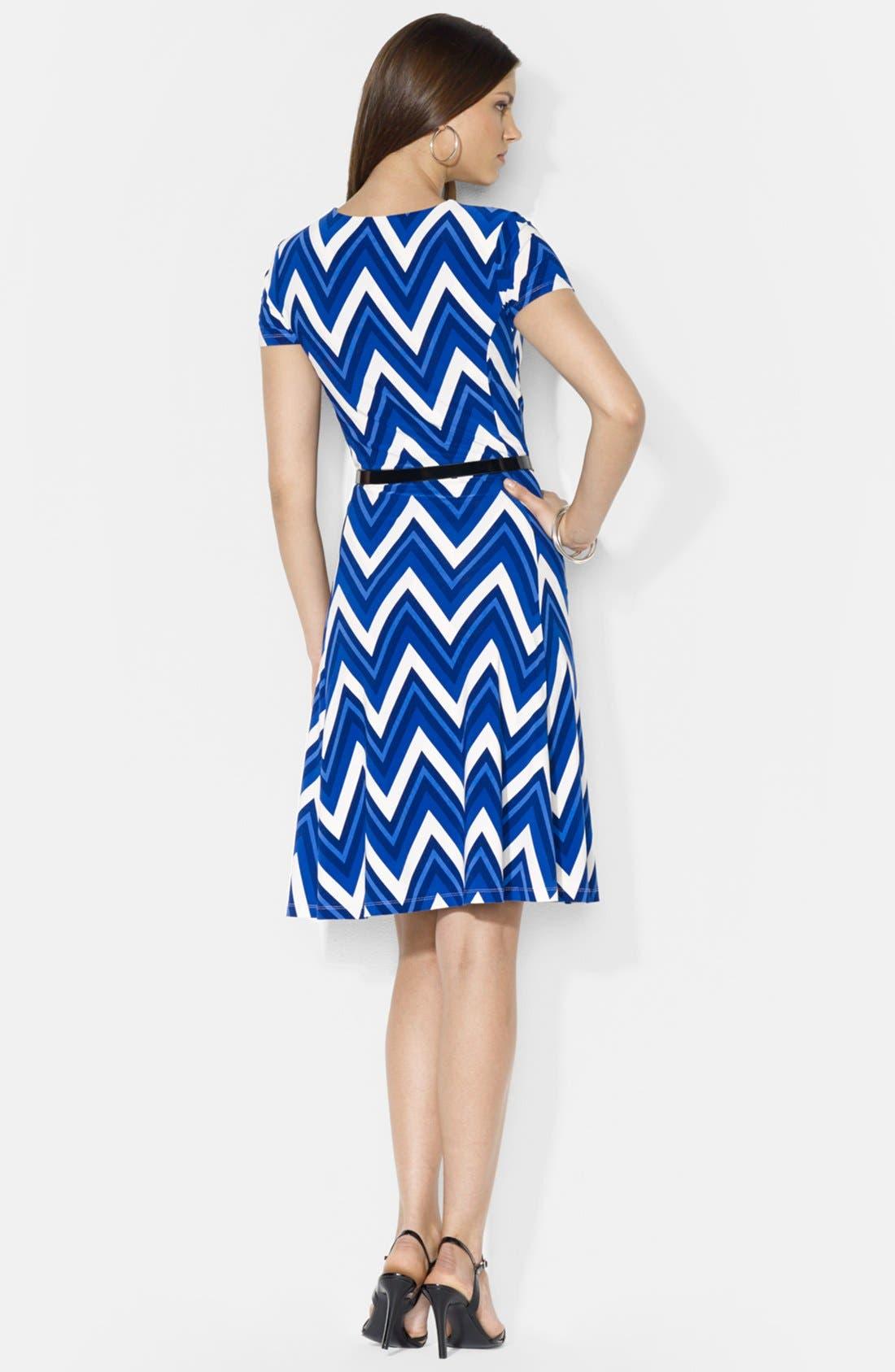 Alternate Image 2  - Lauren Ralph Lauren Belted Print Jersey Crewneck Dress