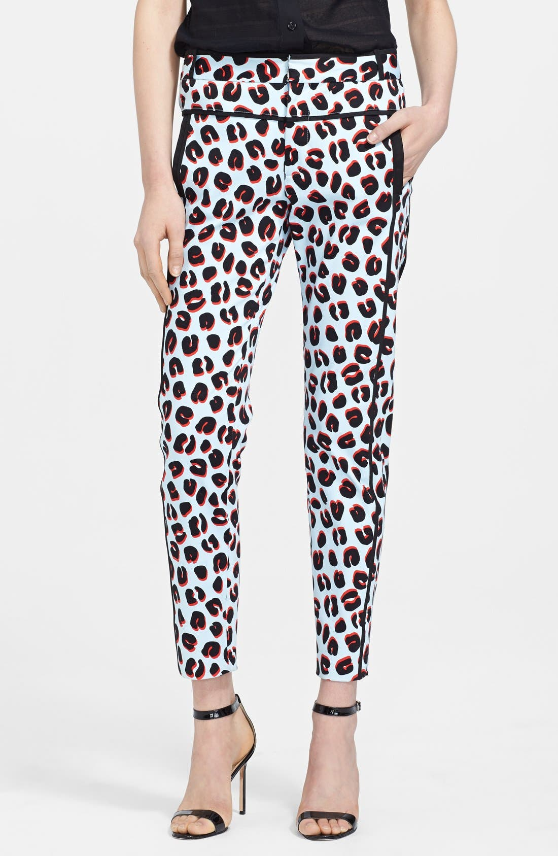 Main Image - Veronica Beard Print Cotton Sateen Tuxedo Pants