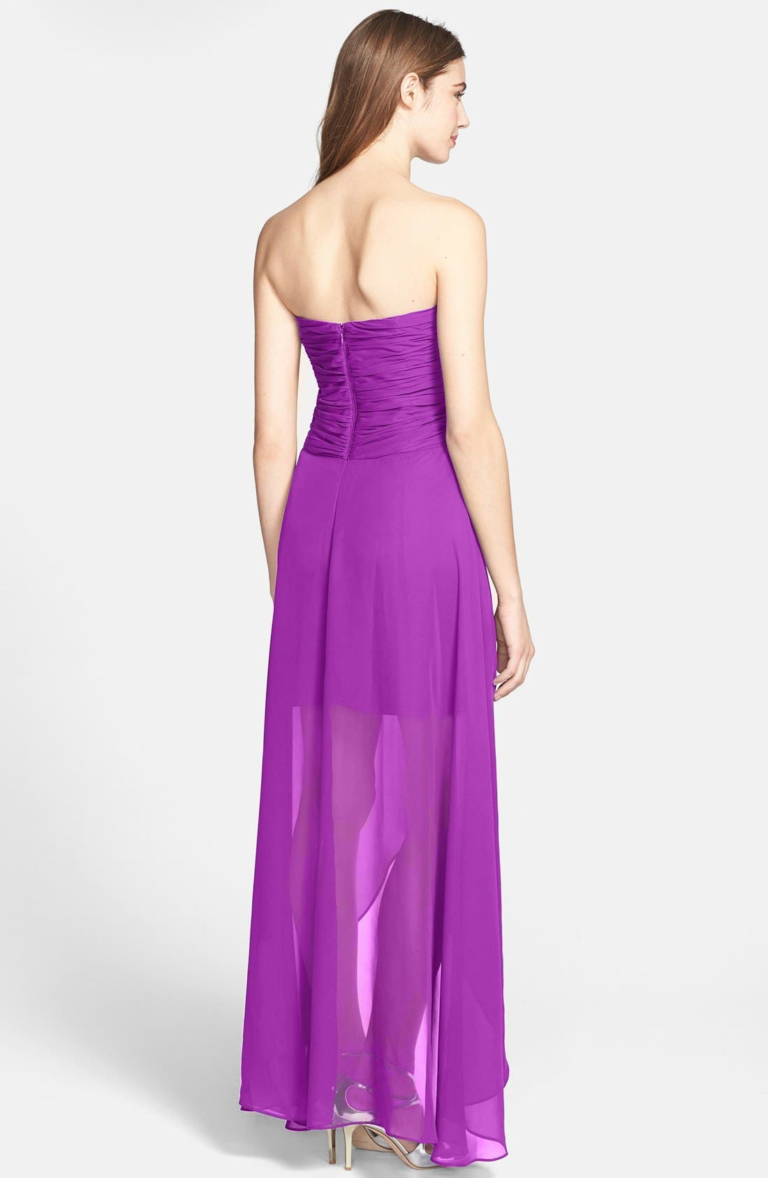 Alternate Image 2  - Hailey by Adrianna Papell Shirred High/Low Chiffon Dress