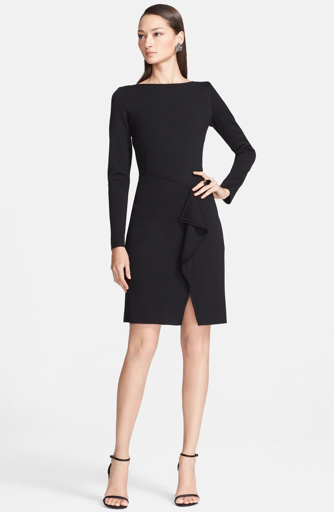 Main Image - St. John Collection Bateau Neck Drape Front Milano Knit Dress