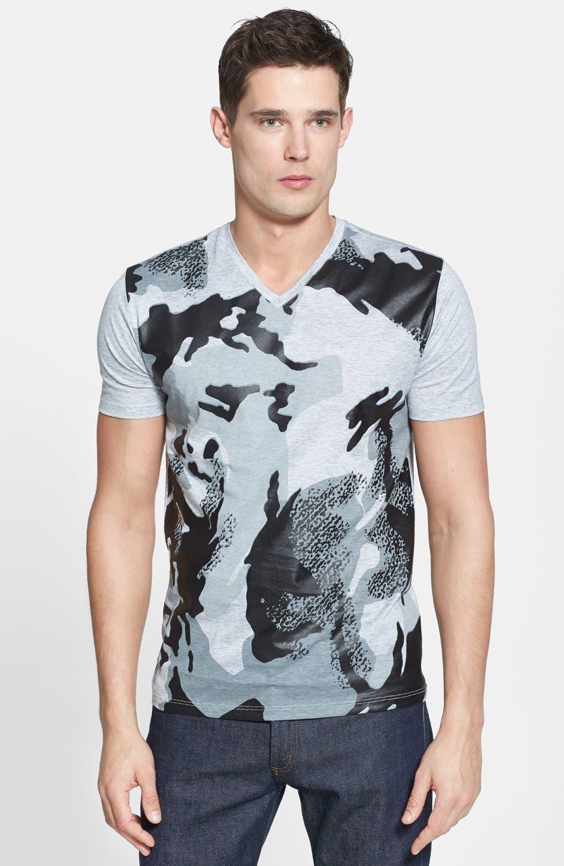 Alternate Image 1 Selected - Versace Camo Front Print V-Neck T-Shirt