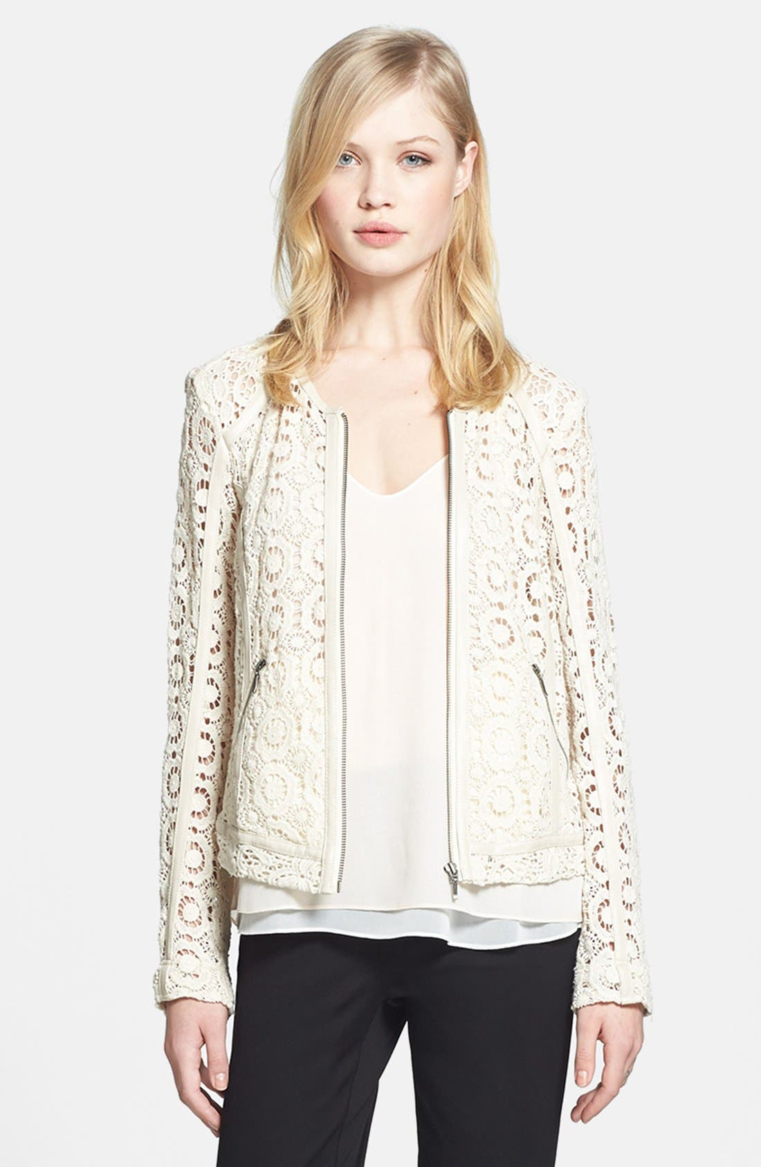 Main Image - Chelsea28 Faux Leather Trim Crocheted Jacket