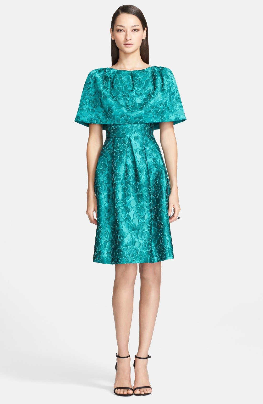 Main Image - St. John Collection 'Shadow Rose' Jacquard Cape Dress