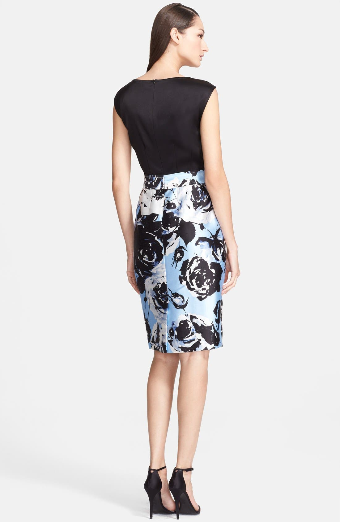 Alternate Image 2  - St. John Collection Rose Blossom Print Mikado Dress