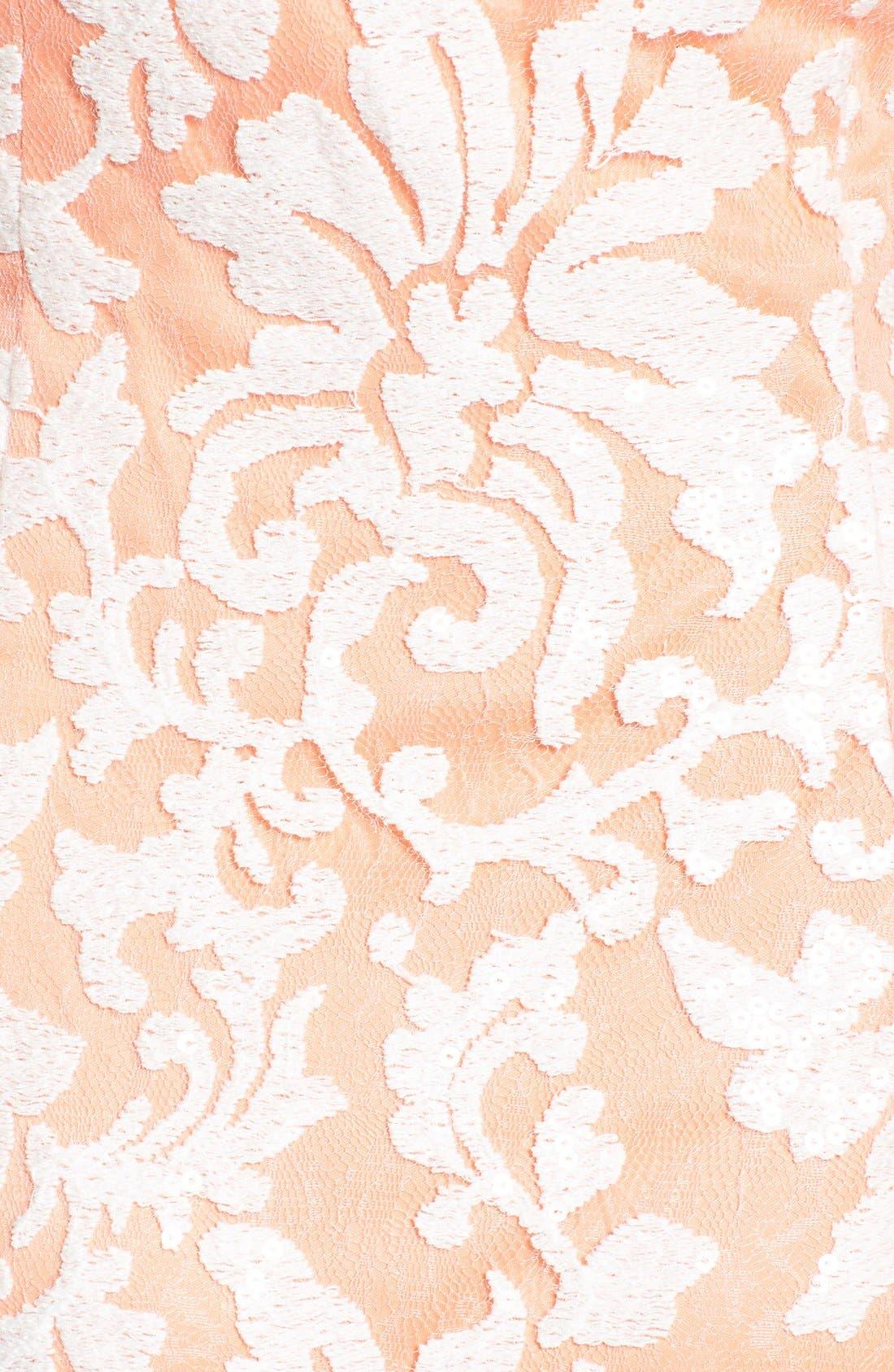 Alternate Image 3  - Tadashi Shoji Lace One-Shoulder Gown