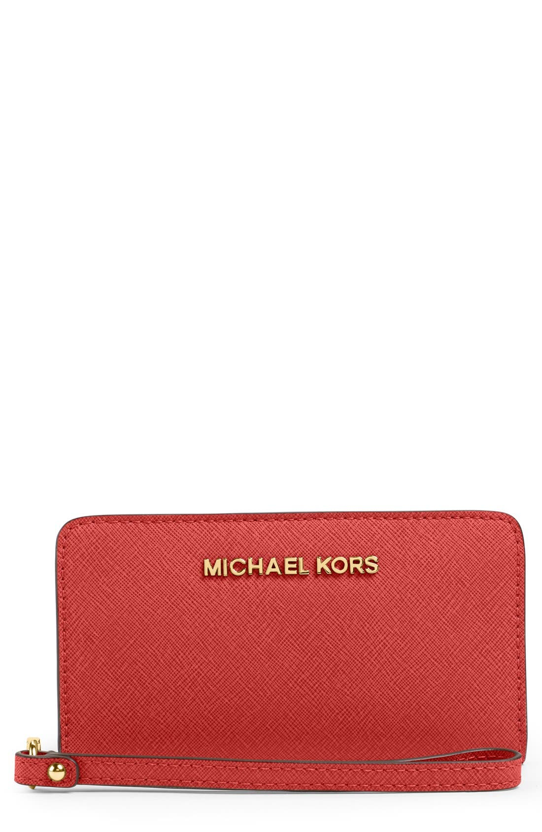 Main Image - MICHAEL Michael Kors Saffiano Leather Tech Wristlet