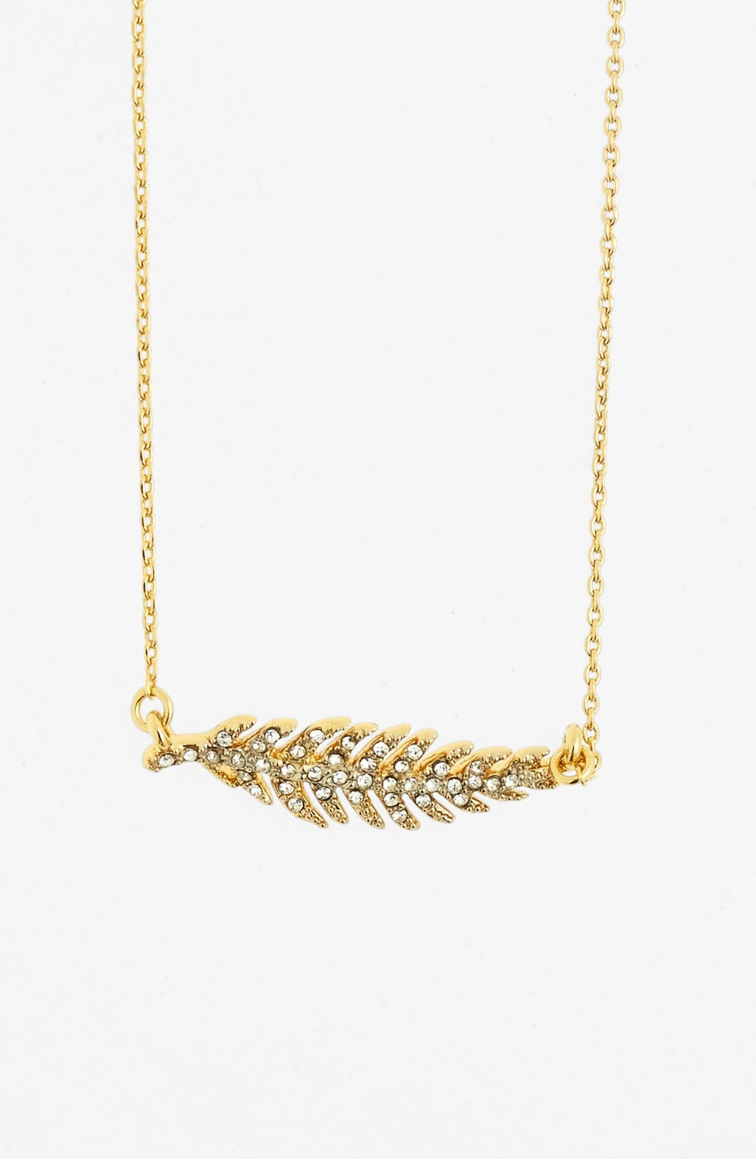 Main Image - Juicy Couture 'Juicy in Bloom' Pavé Feather Pendant Necklace
