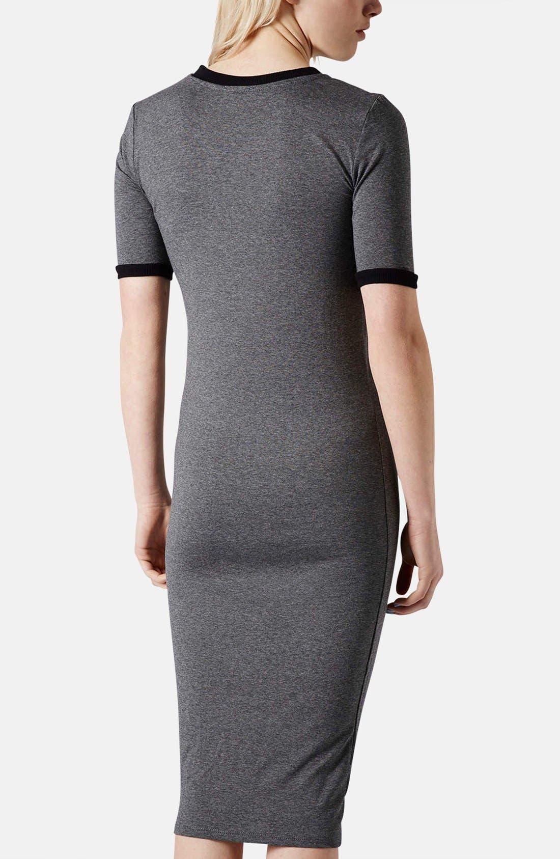 Alternate Image 2  - Topshop Rib Knit Trim Midi Dress
