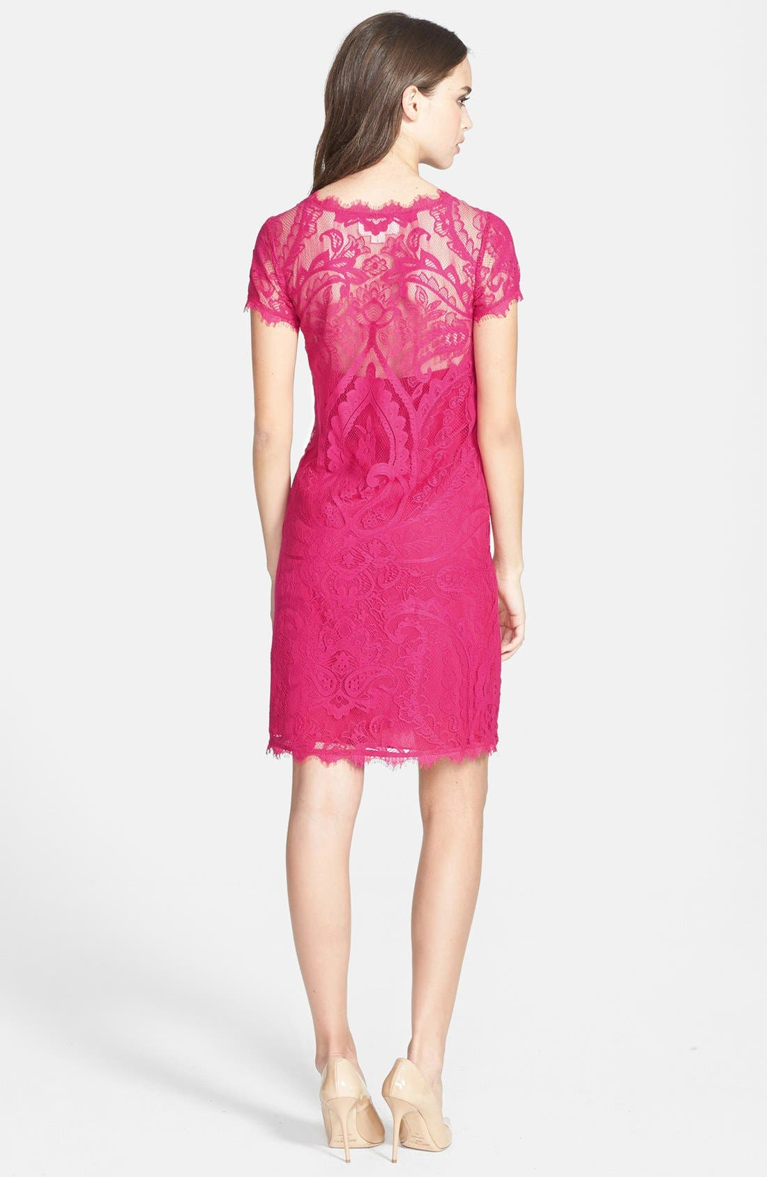 Alternate Image 3  - Nicole Miller Cap Sleeve Lace Dress