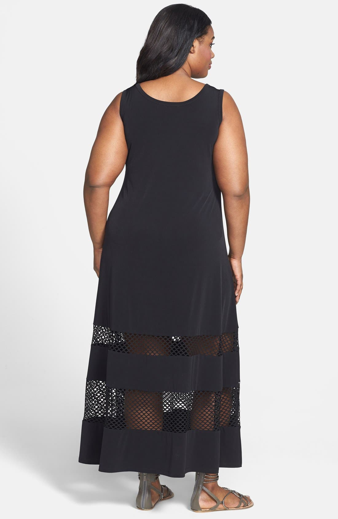 Alternate Image 2  - Calvin Klein Mesh Inset Matte Jersey Maxi Dress (Plus Size)