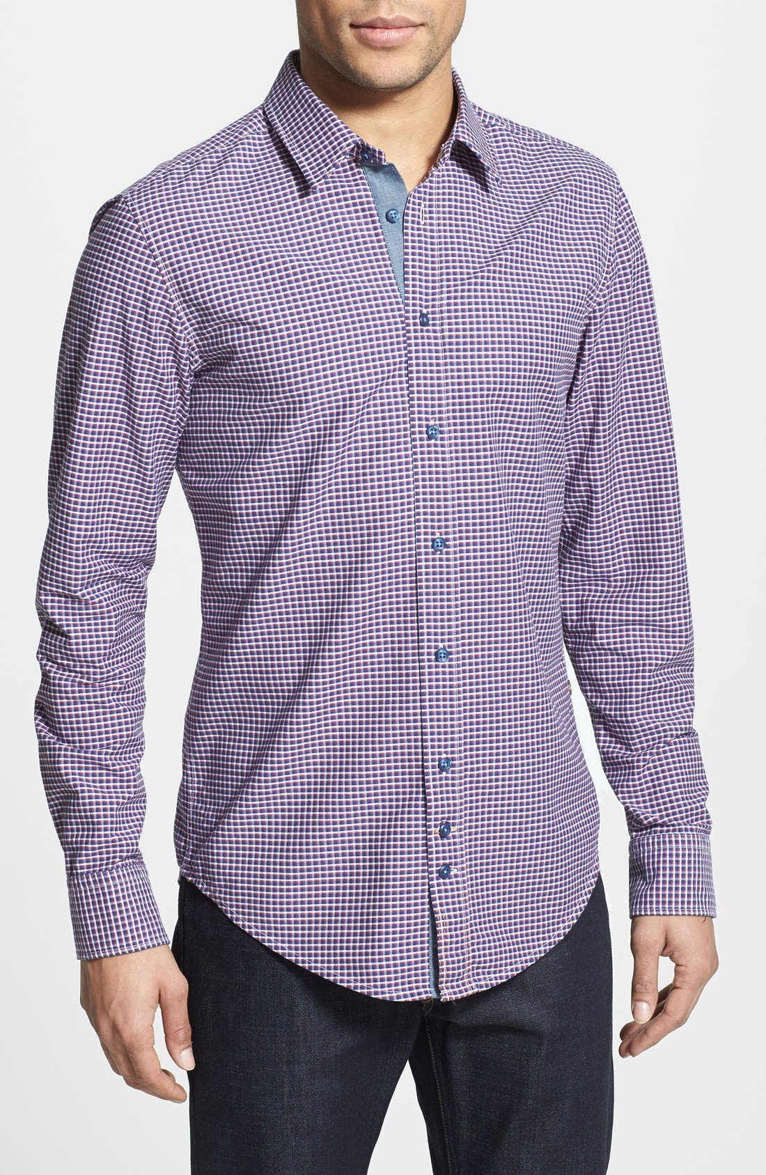 Alternate Image 1 Selected - BOSS Orange 'Cliffe' Slim Fit Check Sport Shirt