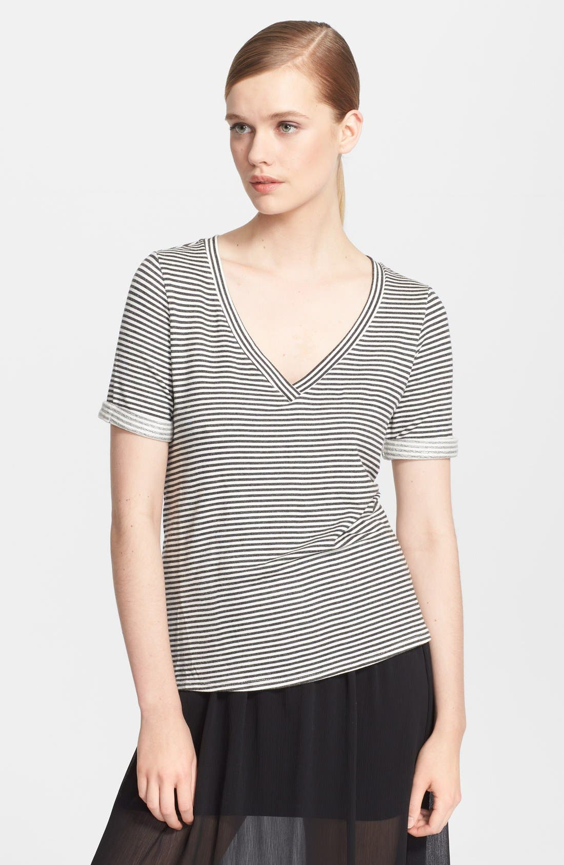 Alternate Image 1 Selected - Alice + Olivia Stripe Jersey Tee
