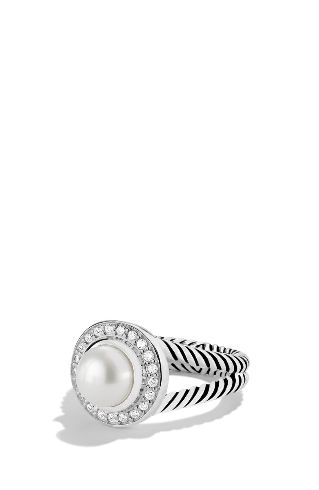 Alternate Image 1 Selected - David Yurman 'Petite Cerise' Ring with Pearl and Diamonds