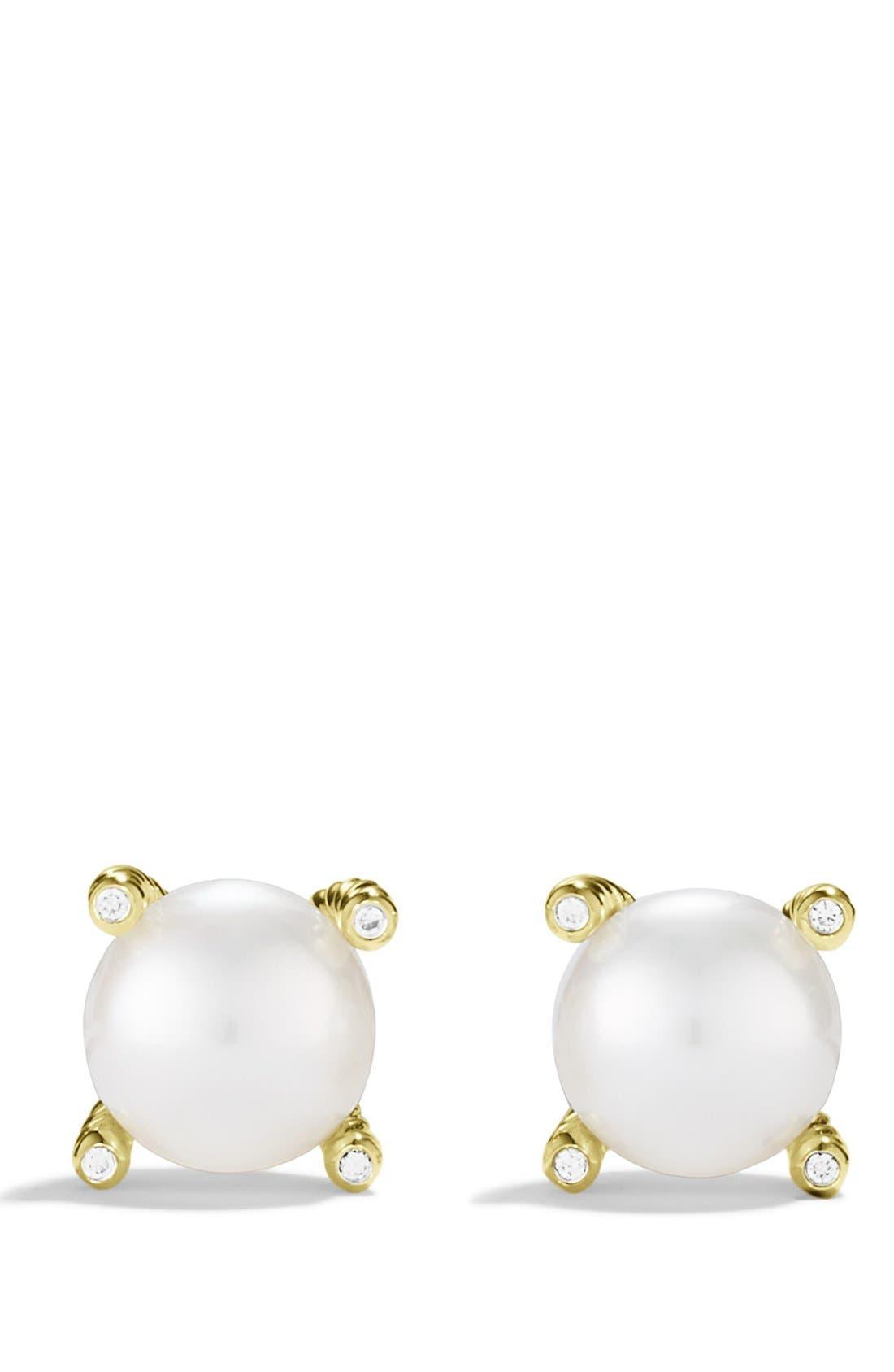 Alternate Image 2  - David Yurman Pearl Earrings with Diamonds in Gold