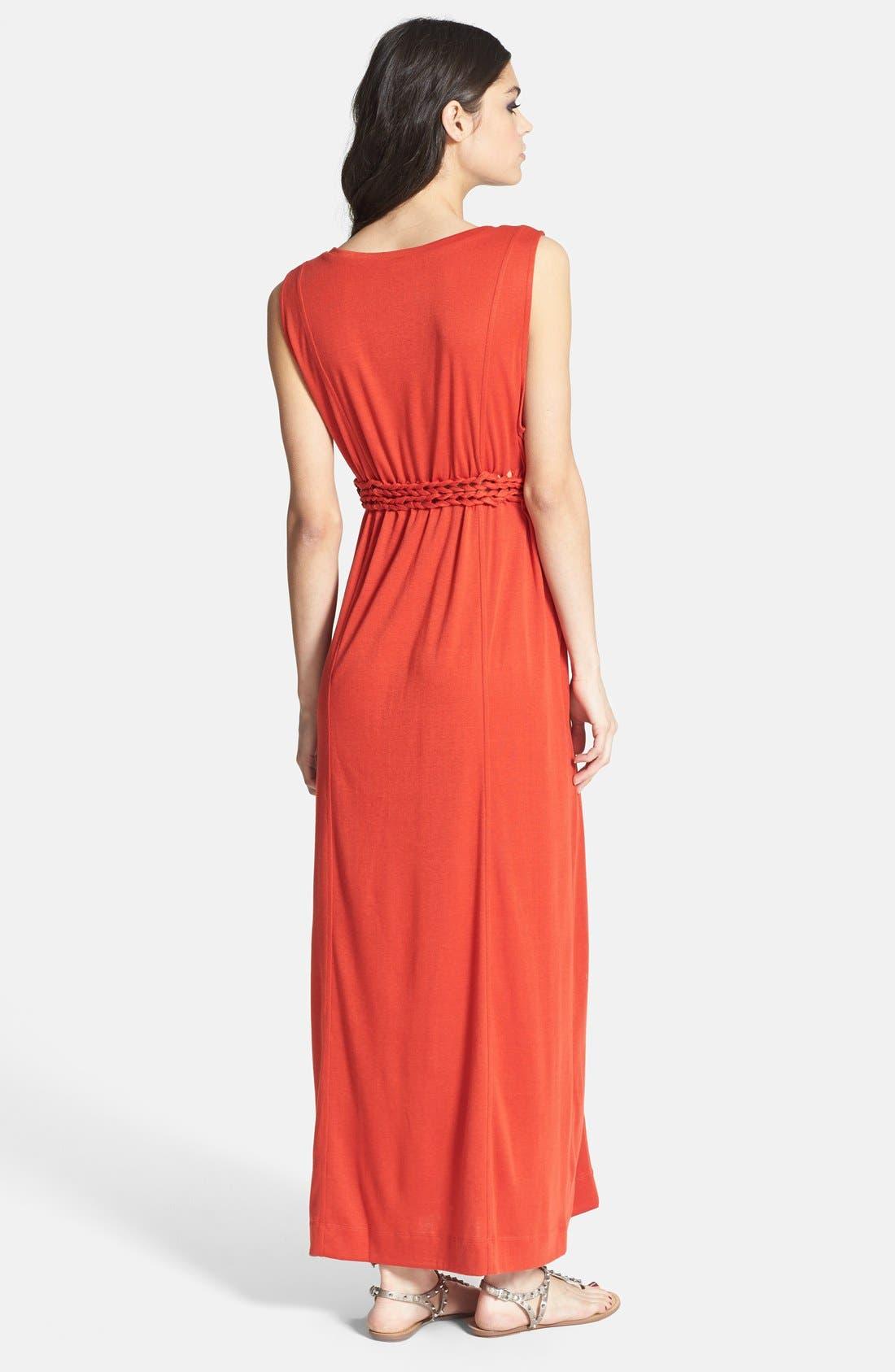 Alternate Image 2  - Knot Sisters 'Logan' Braided Waist Jersey Maxi Dress