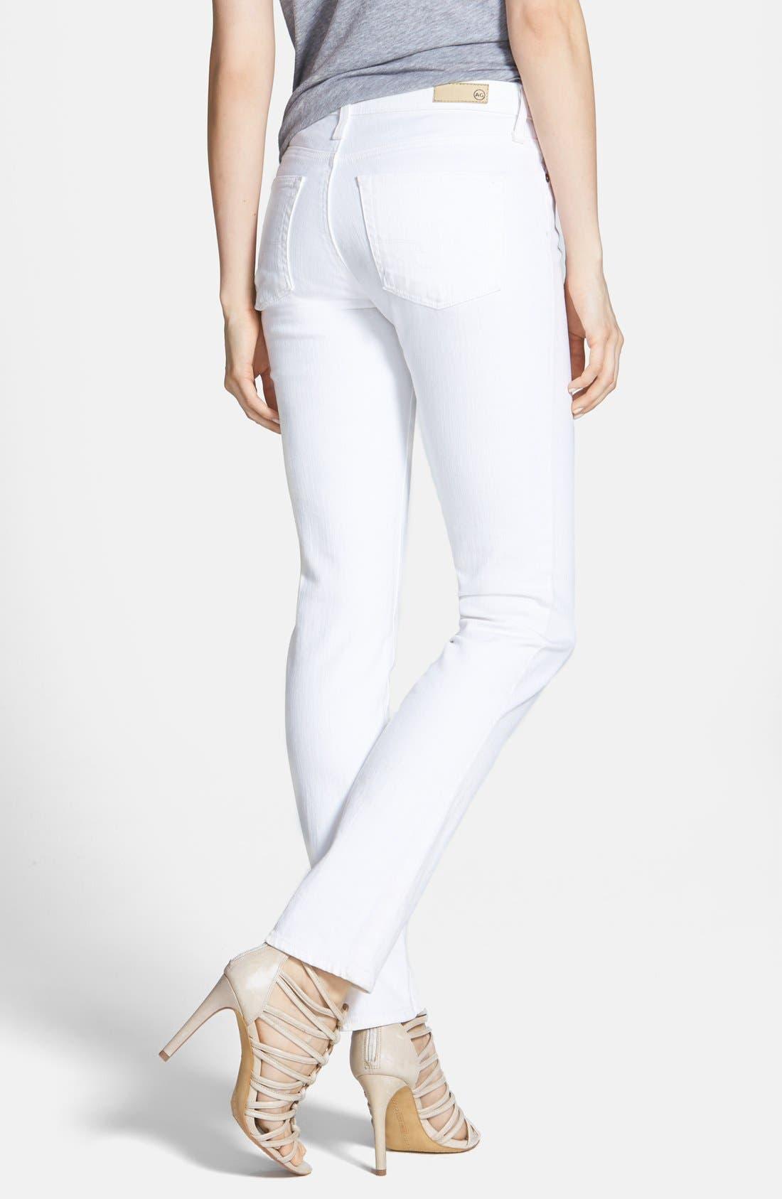 Alternate Image 2  - AG 'The Prima' Mid Rise Cigarette Jeans (White)