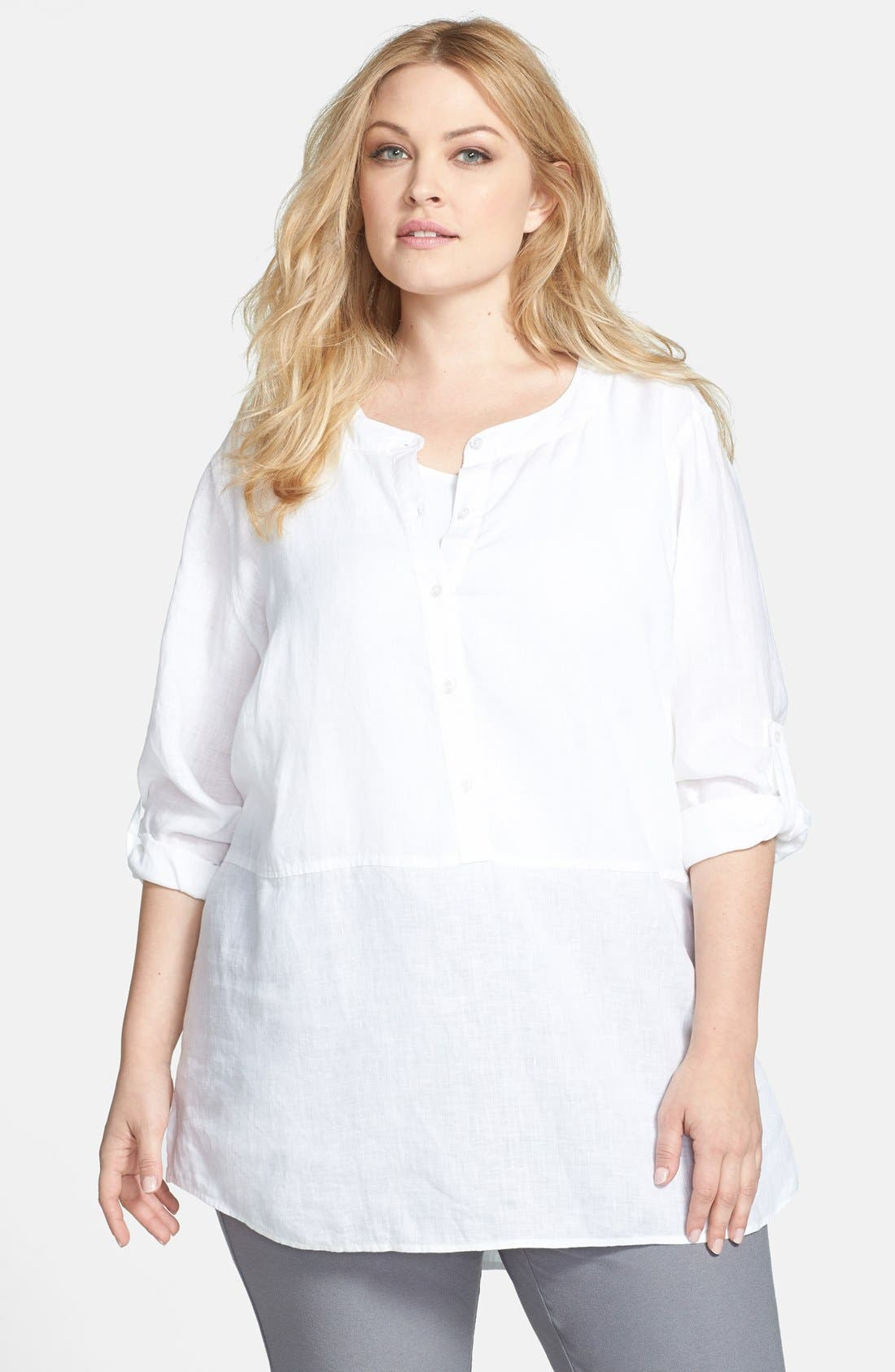 Alternate Image 1 Selected - Eileen Fisher Roll Tab Linen Tunic (Plus Size)
