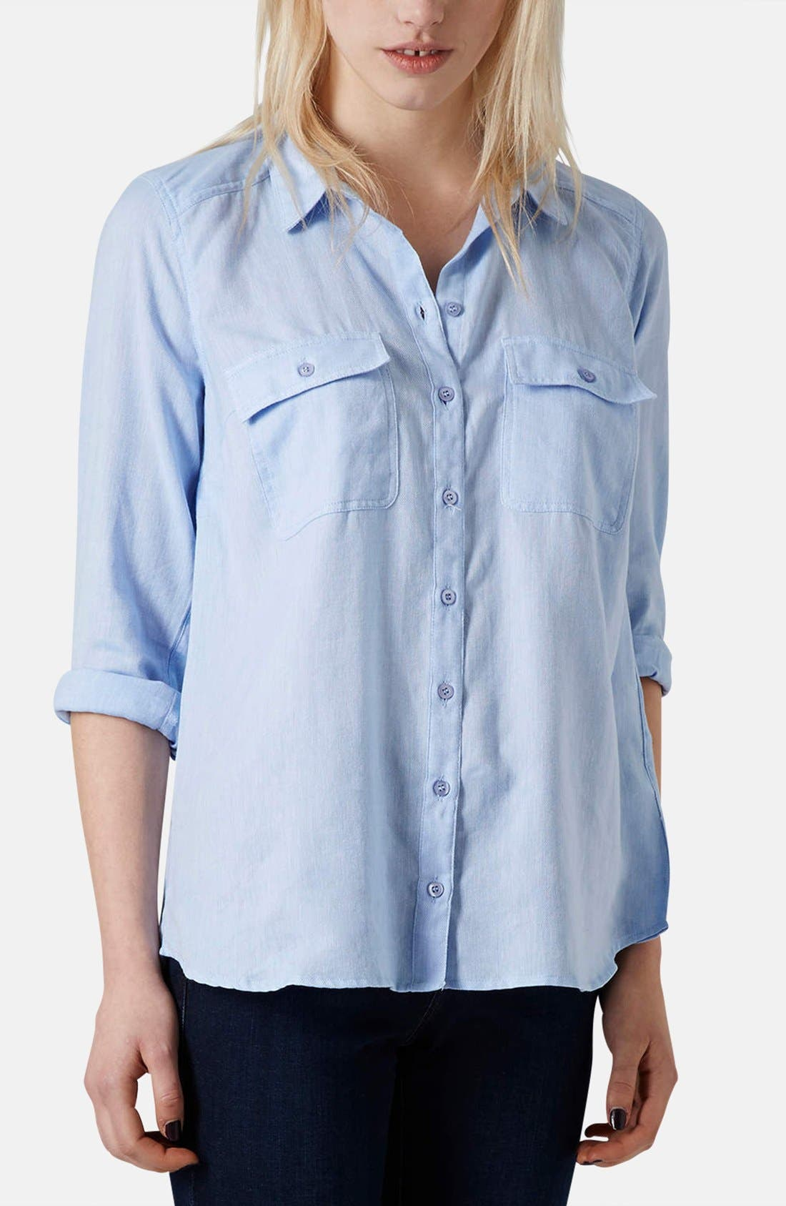 Alternate Image 1 Selected - Topshop Chambray Utility Shirt