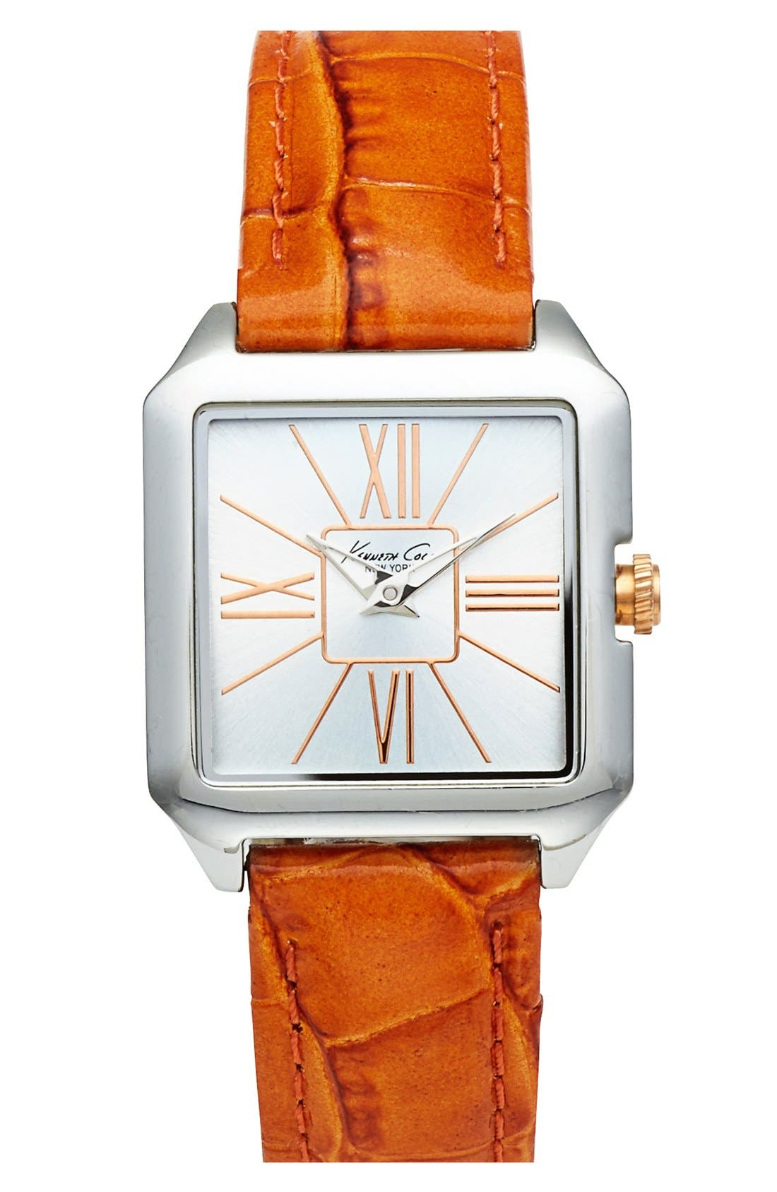 Main Image - Kenneth Cole New York 'Classic' Square Embossed Leather Strap Watch, 26mm