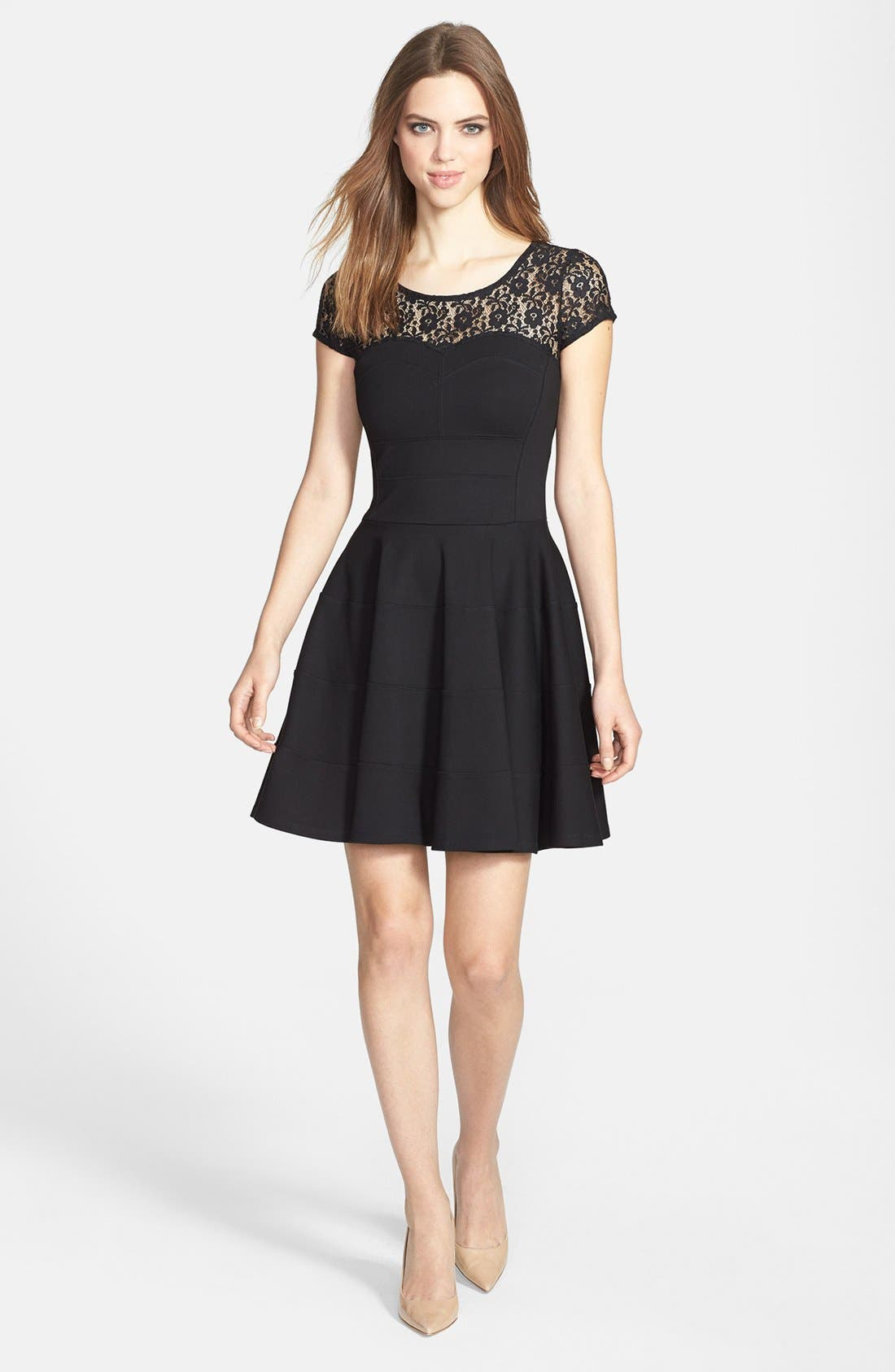 Main Image - Felicity & Coco Lace Yoke Fit & Flare Ponte Dress (Petite) (Nordstrom Exclusive)