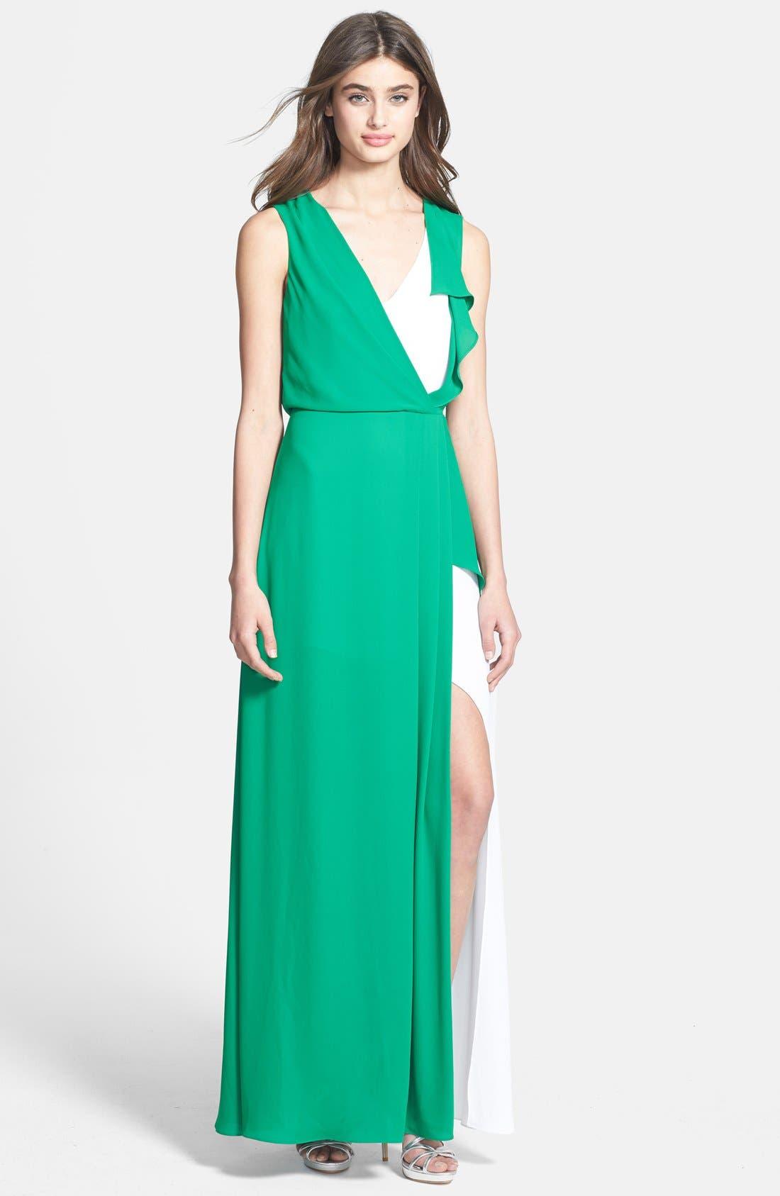 Main Image - BCBGMAXAZRIA 'Yuliana' Contrast Inset Gown
