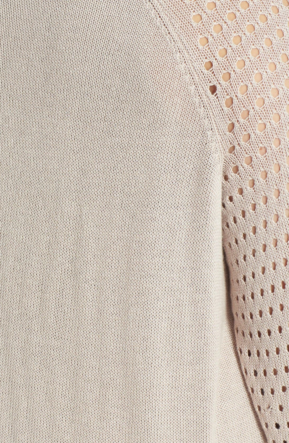 Alternate Image 3  - Halogen® Open Stitch Sleeve Sweater (Plus Size)