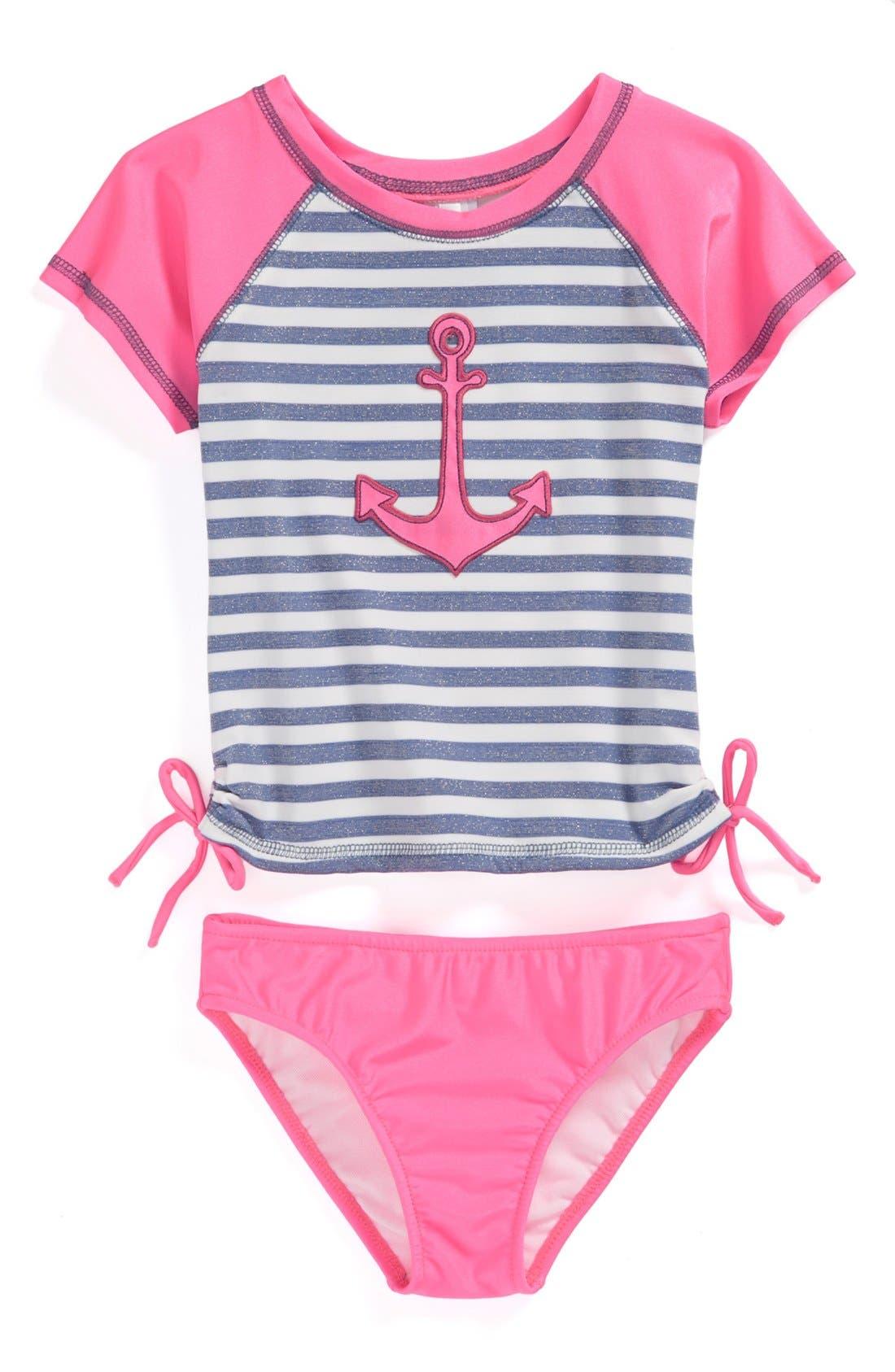 Main Image - Love U Lots 'Anchor' Two-Piece Rashguard Swimsuit (Baby Girls)