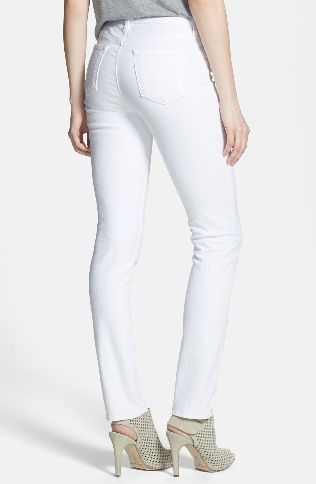 Alternate Image 2  - J Brand 'Rail' High Rise Skinny Jeans (Blanc)