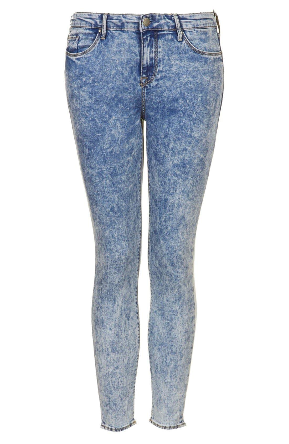 Alternate Image 3  - Topshop Moto 'Leigh' Acid Wash Skinny Jeans (Light Denim) (Petite)